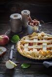 Galdéria caseiro com as maçãs com canela e frutos frescos Fotografia de Stock