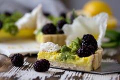 Galdéria caseiro deliciosa do limão Torta na tabela branca rústica Galdéria com amora-preta e merengue Imagens de Stock