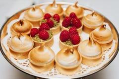 Galdéria com coalho de limão e bolo do pistache da merengue e da framboesa imagens de stock royalty free