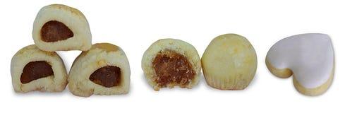 Galdéria do abacaxi e biscoito dado forma coração imagem de stock