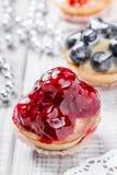 Galdérias do fruto com bagas e morango no fim claro do fundo acima Sobremesa e barra de chocolate deliciosas Imagem de Stock Royalty Free