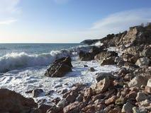 Gale in the Adriatic sea. Seashore Stock Photo