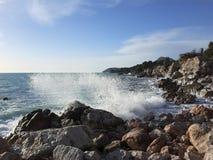 Gale in the Adriatic sea. Seashore Stock Photos