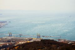 Gale-force wind Bora, Trieste, Italy. Top-view. Gale-force wind Bora, Trieste, Italy. February 2018. Top-view of city and Adriatic sea Stock Photo