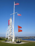 Gale Warning. Two red flags flown by the Coast Guard warns sailors and fishermen that a gale is in effect Royalty Free Stock Image