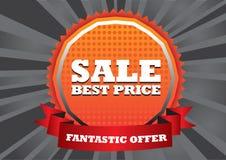 Galen försäljningstitelraddesign med svart bakgrund Arkivfoton
