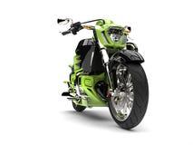Galen grön modern kraftig avbrytarcykel - framhjulcloseupskott Arkivbilder