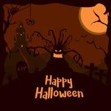 Galen gyckel och spöklik vektorillustration lyckliga halloween vektor illustrationer