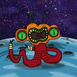 Galen konstig utrymmefrämling eller monster stock illustrationer