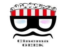 galen logo för bio för ask för popcorn för tecknad filmgeektecken Fotografering för Bildbyråer