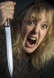 Galen psykotisk kvinna Arkivfoton