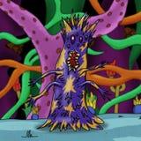 Galen spetsig purpurfärgad utrymmefrämling eller monster i en främmande skog royaltyfri illustrationer