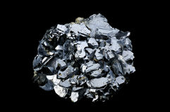 Galena galenite isolated on balck. Background Royalty Free Stock Photos