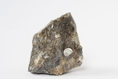 Galena mineral with Sphalerite also lead ore on white background royalty free stock photo