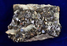 Galena and quartz. In a unique natural formation Stock Photos