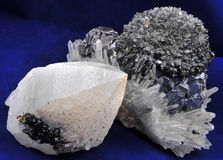 Galena and quartz. In a unique natural formation Stock Image