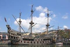 Galeone Neptune. Old wooden ship, tourist attraction in Genoa stock image