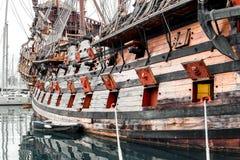 Galeone Neptune ship. Tourist attraction in Genoa. The ship was built in 1985 for Roman Polanskis film Pirates Italy stock photo