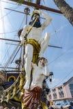 Galeone oud houten schip in een de zomerdag het Beeldidentiteitskaart in van Genua, Italië: 359833034 Royalty-vrije Stock Afbeelding