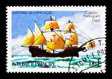 Galeone portoghese (1560), serie delle navi di navigazione, circa 1979 Fotografia Stock Libera da Diritti