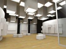 Galería de arte con los marcos en blanco Fotos de archivo