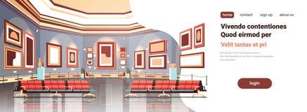 Galería de arte moderno en las ilustraciones contemporáneas creativas interiores de las pinturas del museo o el espacio plano de  ilustración del vector