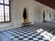 Galería en el castillo francés de Chenonceau, Francia Foto de archivo libre de regalías