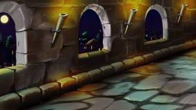 Galería en el castillo Opinión de la noche stock de ilustración