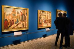 Galería en la galería de arte de Brera, Milán Imagenes de archivo