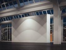Galería moderna con las paredes blancas y las ventanas grandes en la noche, representación 3d libre illustration
