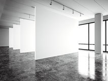 Galería moderna de la exposición de la foto, espacio abierto Lugar industrial contemporáneo de la lona vacía blanca en blanco Des ilustración del vector
