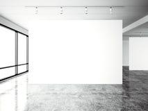 Galería moderna de la exposición de la imagen, espacio abierto Lugar industrial contemporáneo de la lona vacía blanca en blanco D libre illustration