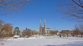 Galería nacional y catedral de Notre Dame, Ottawa en un día de invierno fotografía de archivo