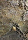 Galería volcánica de la cueva en la isla de Terceira azores Gruta hace natal Foto de archivo libre de regalías