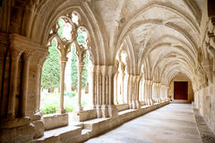 Galerías del monasterio de Poblet Fotos de archivo libres de regalías