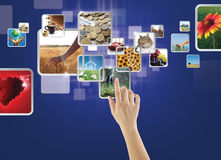 Galería de fotos en la pantalla táctil Fotografía de archivo libre de regalías