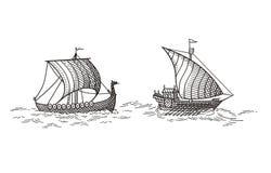 Galera y naves de Drakkar Imagenes de archivo