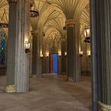 Galeria 3d interior luxuoso do arco gótico para render imagens de stock royalty free