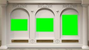 Galeria de arte com os arcos na parede e os espaços do chromakey em vez das pinturas Telas verdes na parede no museu ilustração do vetor