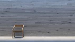 A galeria de madeira interior mínima da parede/3d rende a imagem fotografia de stock royalty free