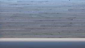 A galeria de madeira interior mínima da parede/3d rende a imagem fotos de stock royalty free