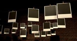 Galeria de suspensão do Polaroid Imagem de Stock Royalty Free