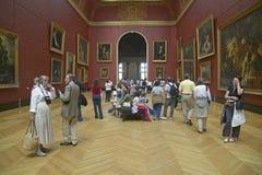 Galeria europeia no museu do Louvre, Paris, França fotografia de stock royalty free