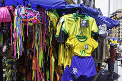 Galeria sells products for the Brazilian World Cup on the 25 March streets in Sao Paulo, Brazil Stock Photos