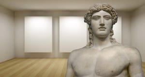 Galeria vazia, sala 3d com sculture grego, estátua antiga Fotos de Stock Royalty Free
