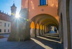 Galerie auf Renaissancestraße in der alten Stadt in Tarnow, Polen stockbild