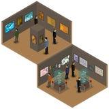 Galerie d'art avec des peintures, humains, objets exposés sur des piédestaux, illustration isométrique de vecteur illustration stock
