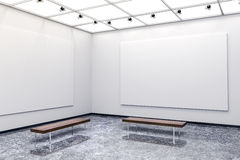 galerie 3d intérieure moderne avec les murs et la toile blancs illustration stock