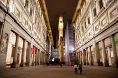 Galerie d'Uffizi par nuit Photo libre de droits