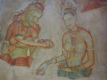 Galerie des fresques dans Sigiriya Photo stock